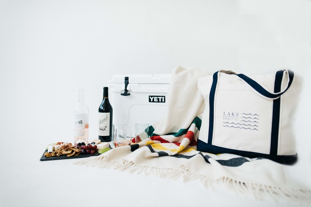 Lake Day  Tote  + Recycled Wine Bottle  Tumblers  + Yeti 45  Cooler  + Pendleton Glacier NP  Throw