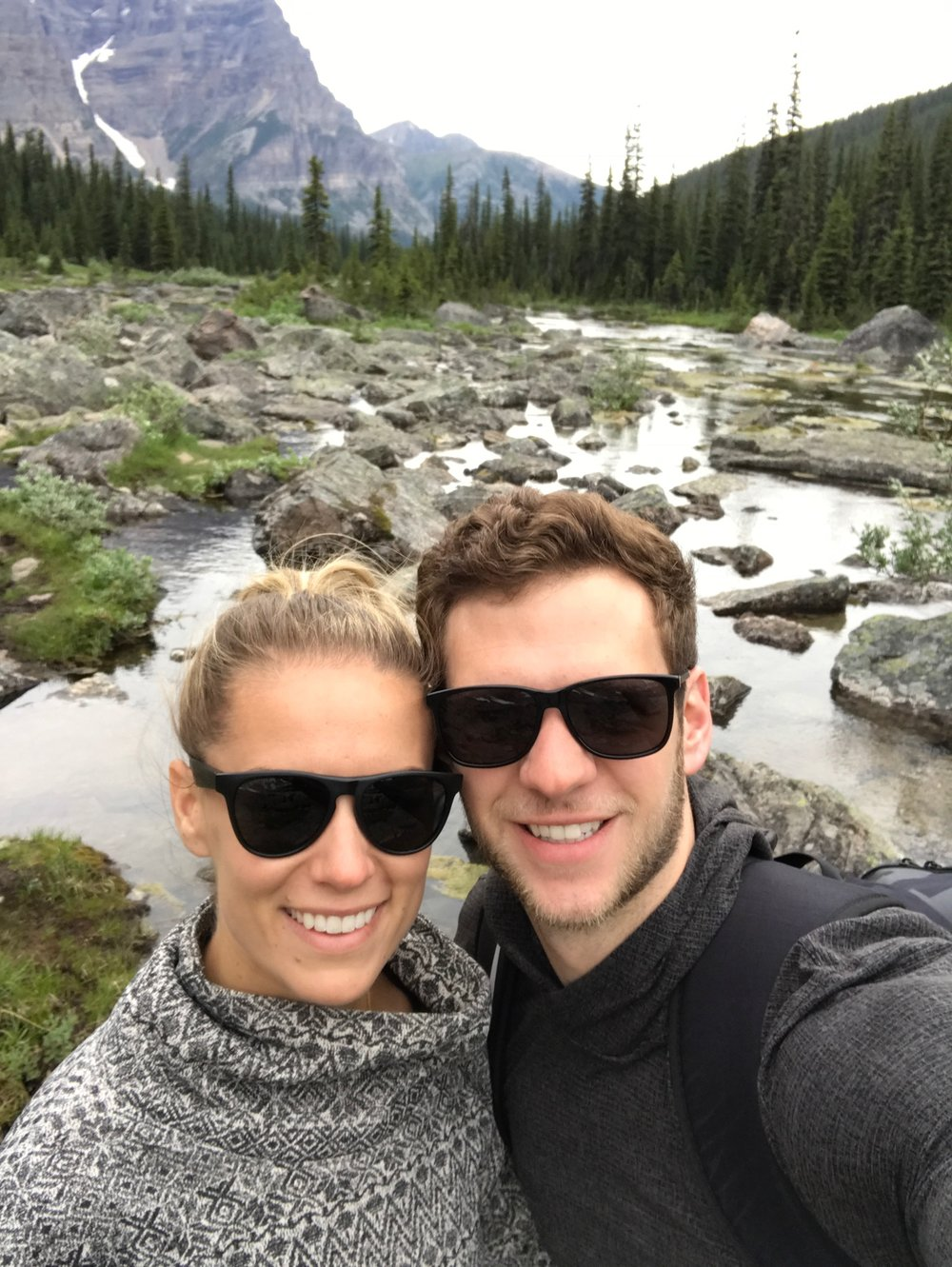 Couple taking a picture in Banff National Park