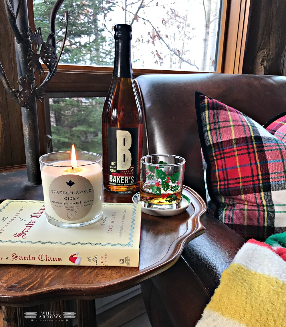 Lake House Holiday, baker's bourbon, bourbon spiced cider candle from lake effect co