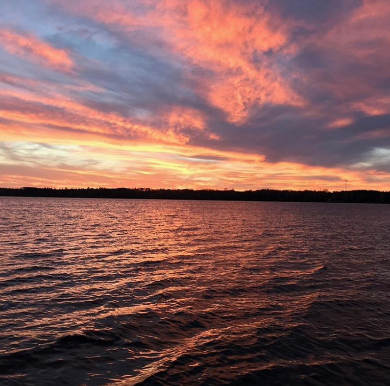 sunset over northern wisconsin lake