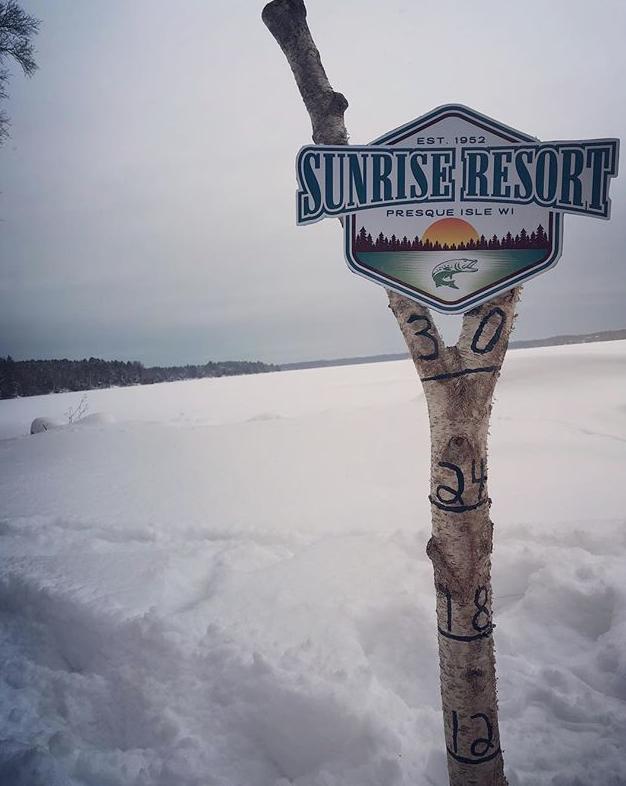 Sunrise Resort Presque isle wisconsin snow meter stick