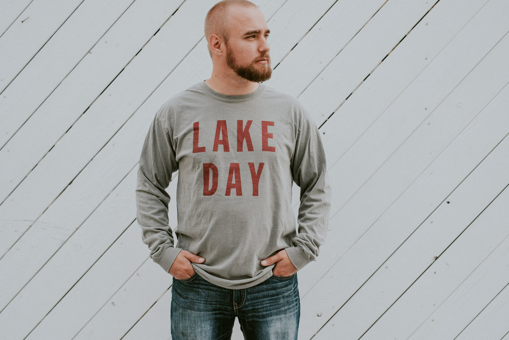 Lake Day long sleeve shirt. Lake Effect Co clothing for lake lovers and lakeside living!