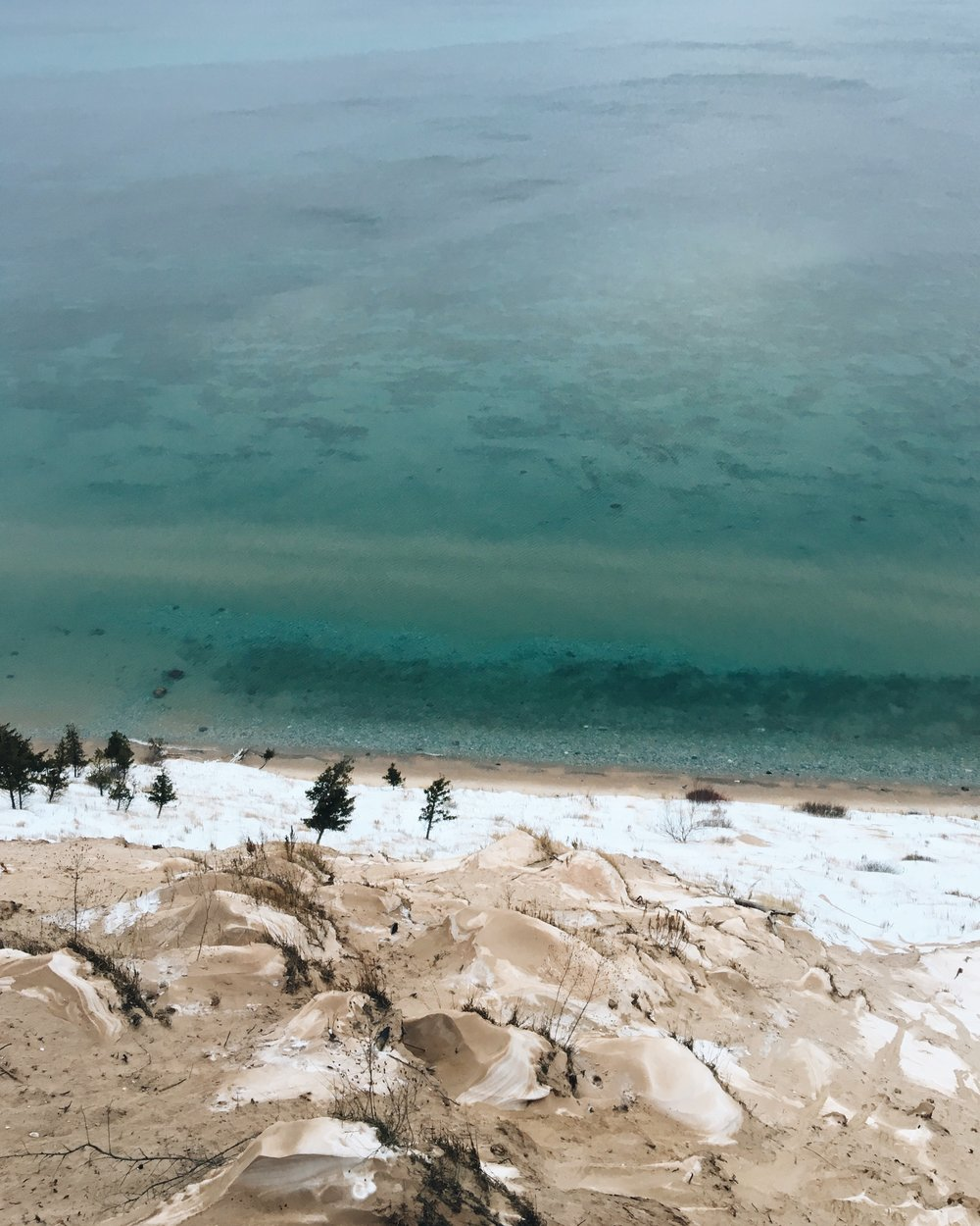 Overlooking Lake Michigan from a bluff in winter