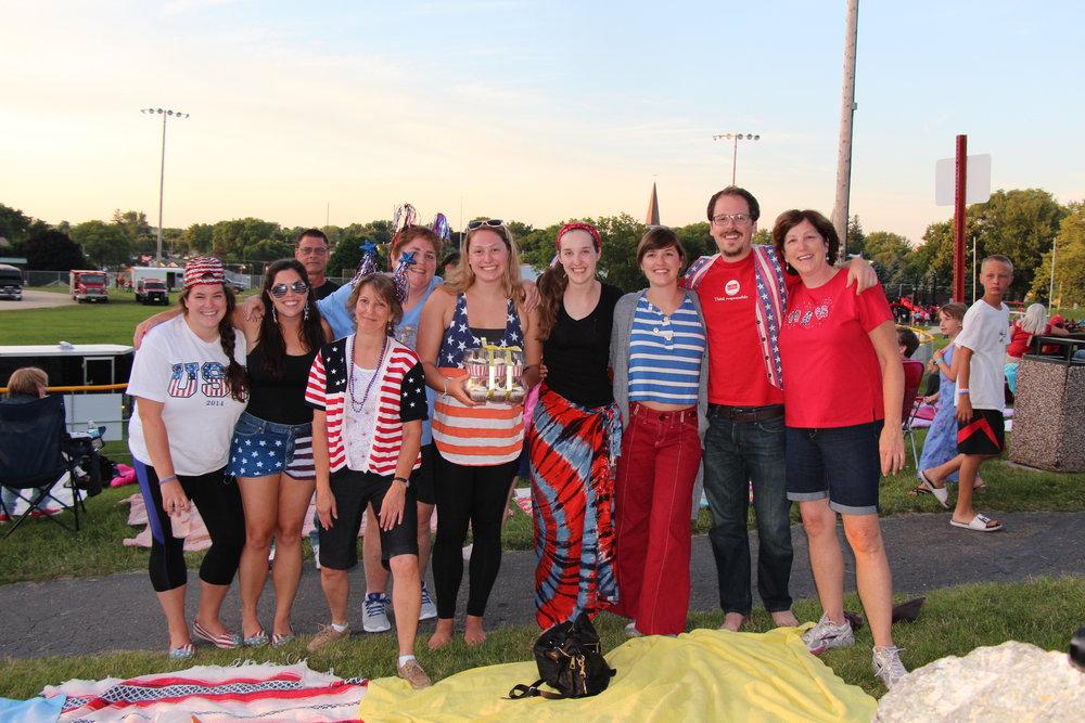 Megan and Sam w_ Megan_s Family at Lake Fourth of July.JPG