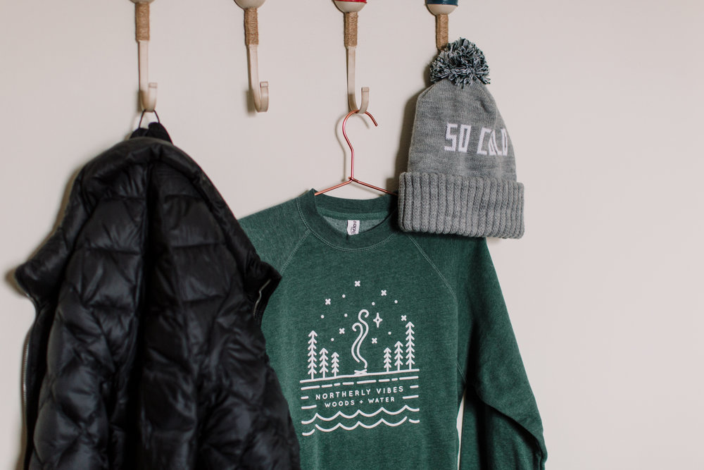 Northerly Vibes sweatshirt and So Cold Winter Knit hat