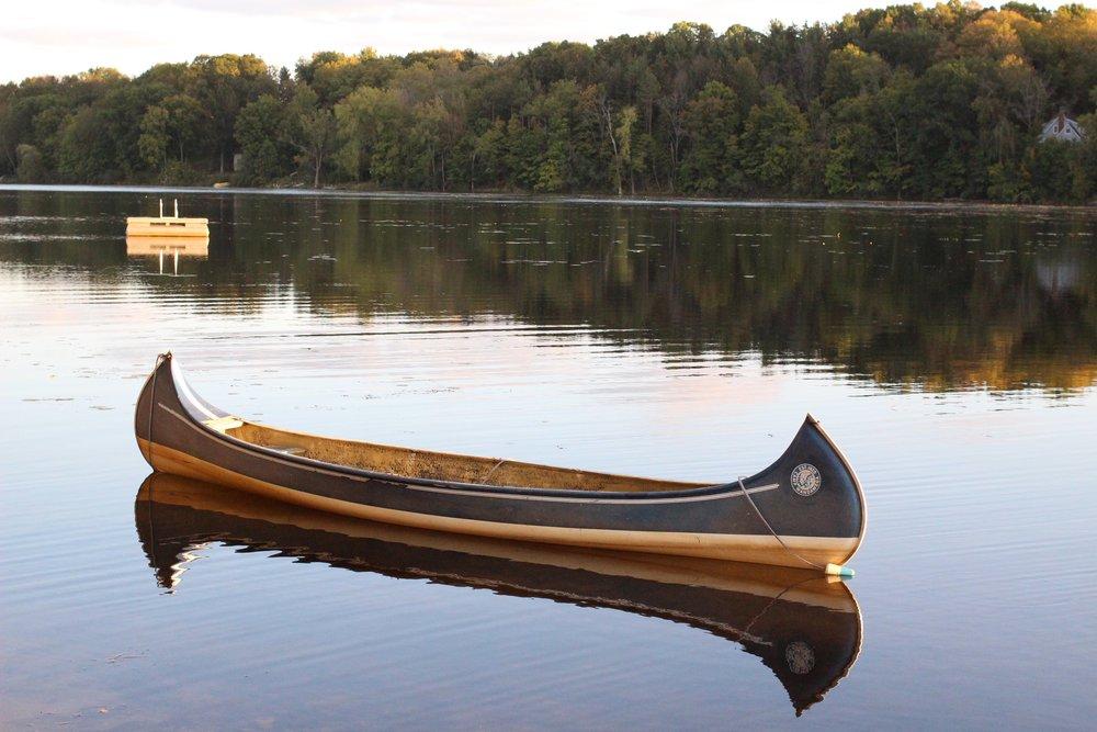 canoe on midwest lake wandawega