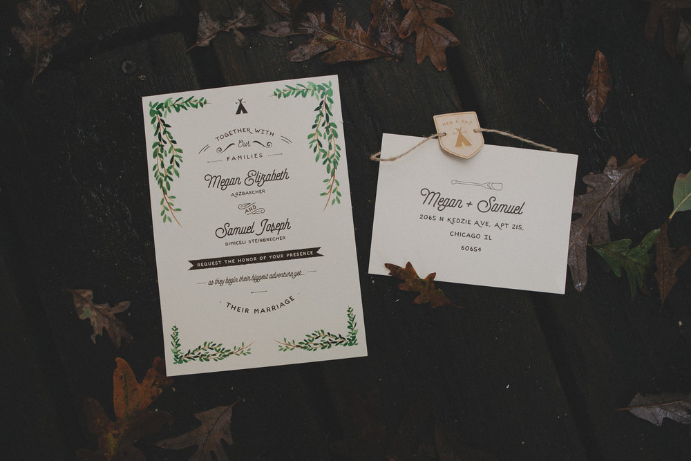 Save the date invite for lakeside wedding at Camp Wandawega in Wisconsin