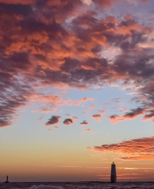 Lake Michigan sunset lighthouse