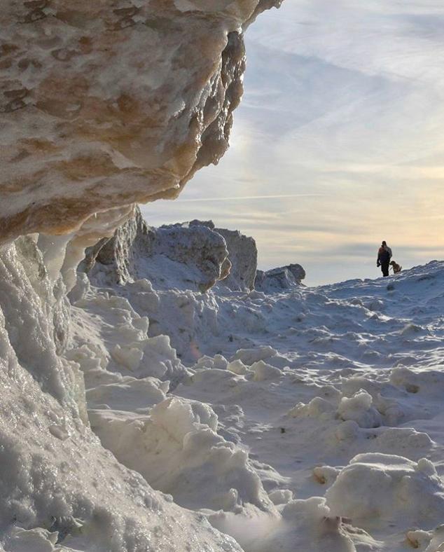 Frozen ice shore lake michigan hike