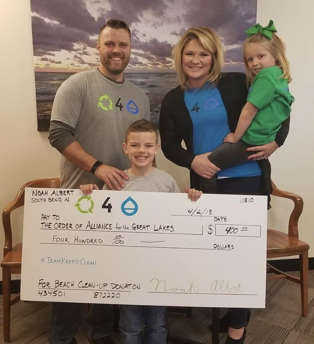 Noah Albert raised $400 for the Alliance for the Great Lakes