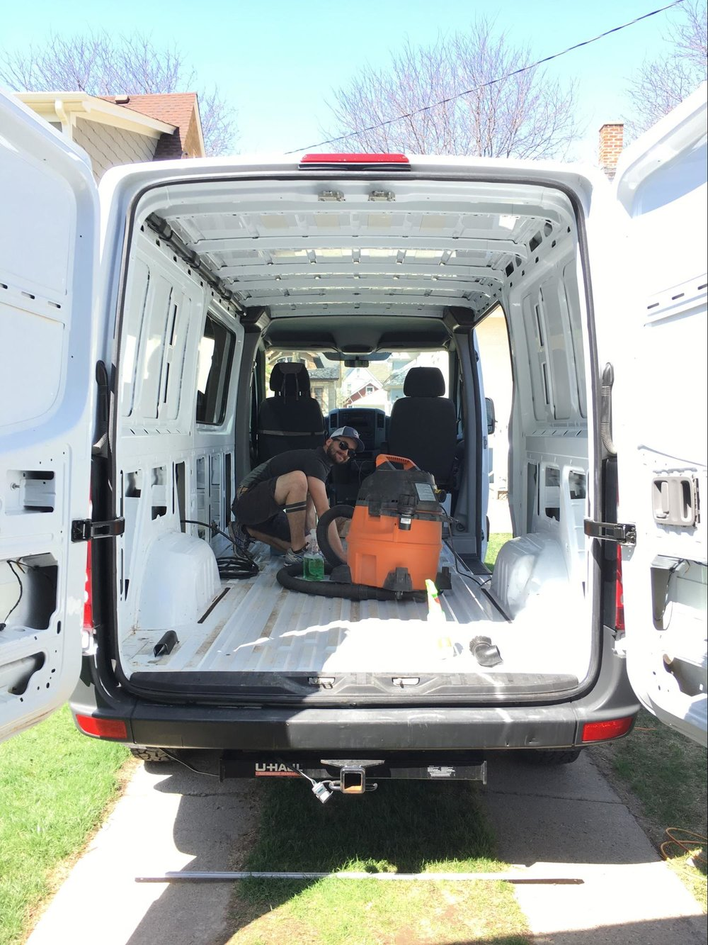 cleaning sprinter van for conversion