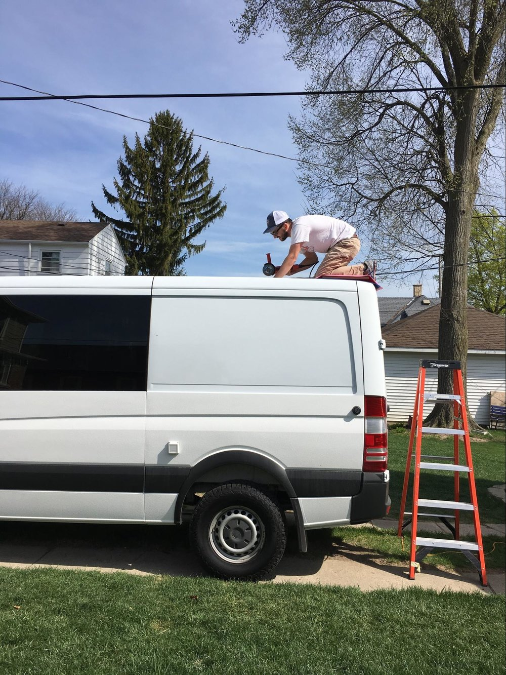 roof work on sprinter van conversion