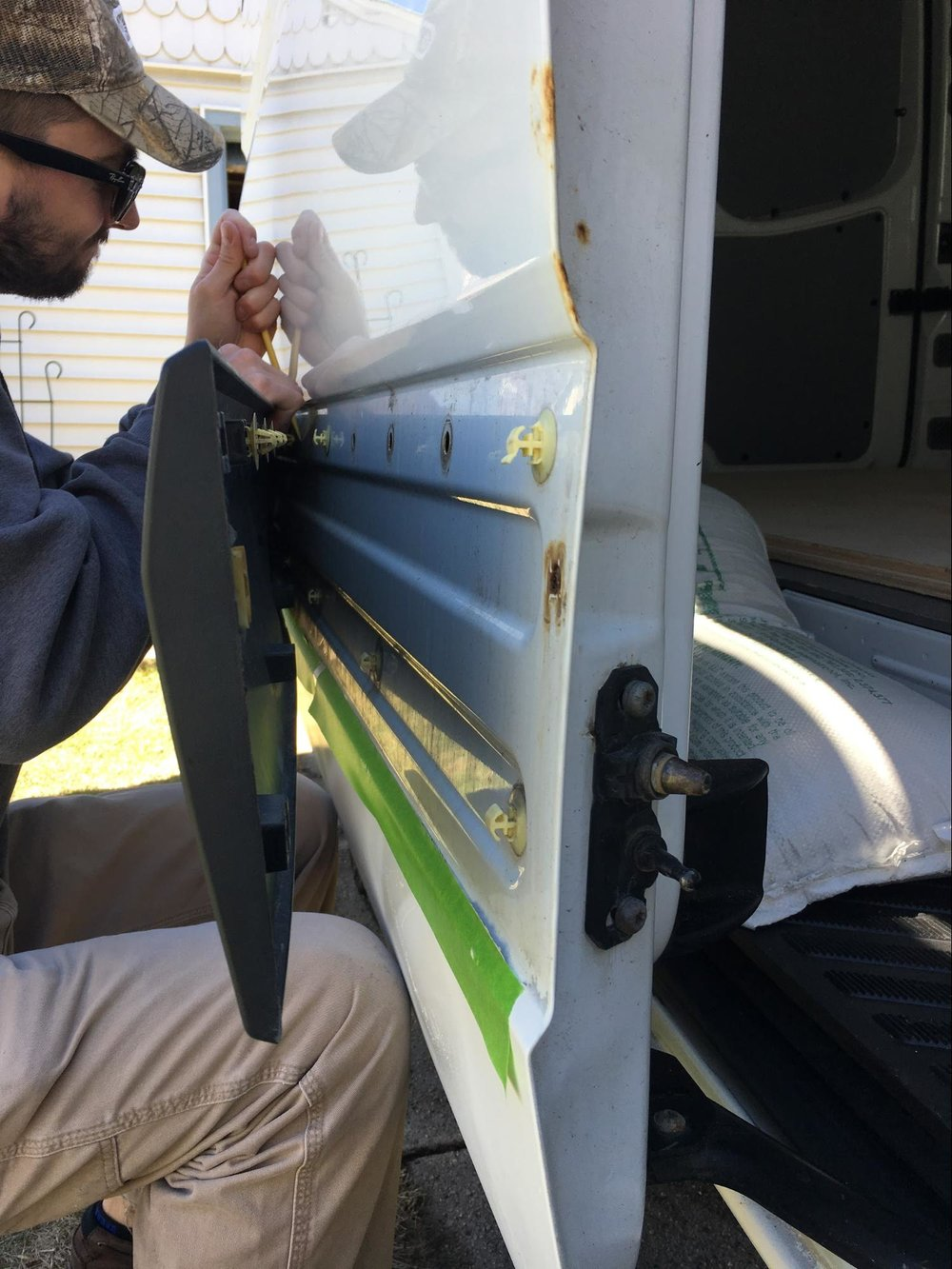 replacing exterior trim on van