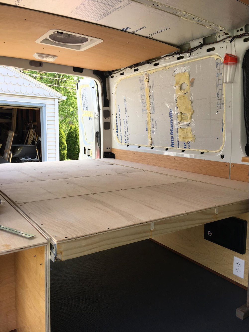 custom bed frame for van conversion