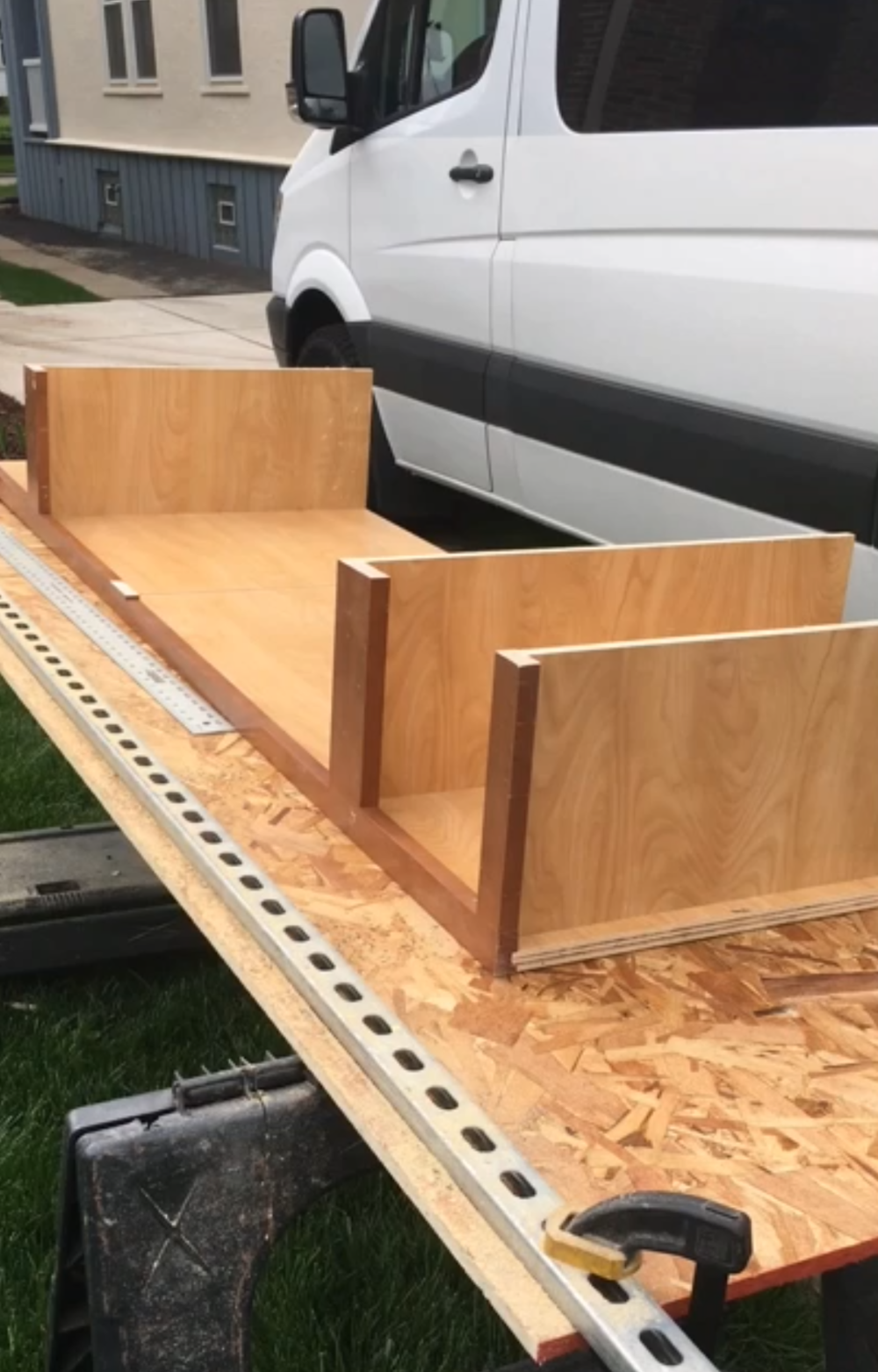 custom building cabinet and shelving for van conversion