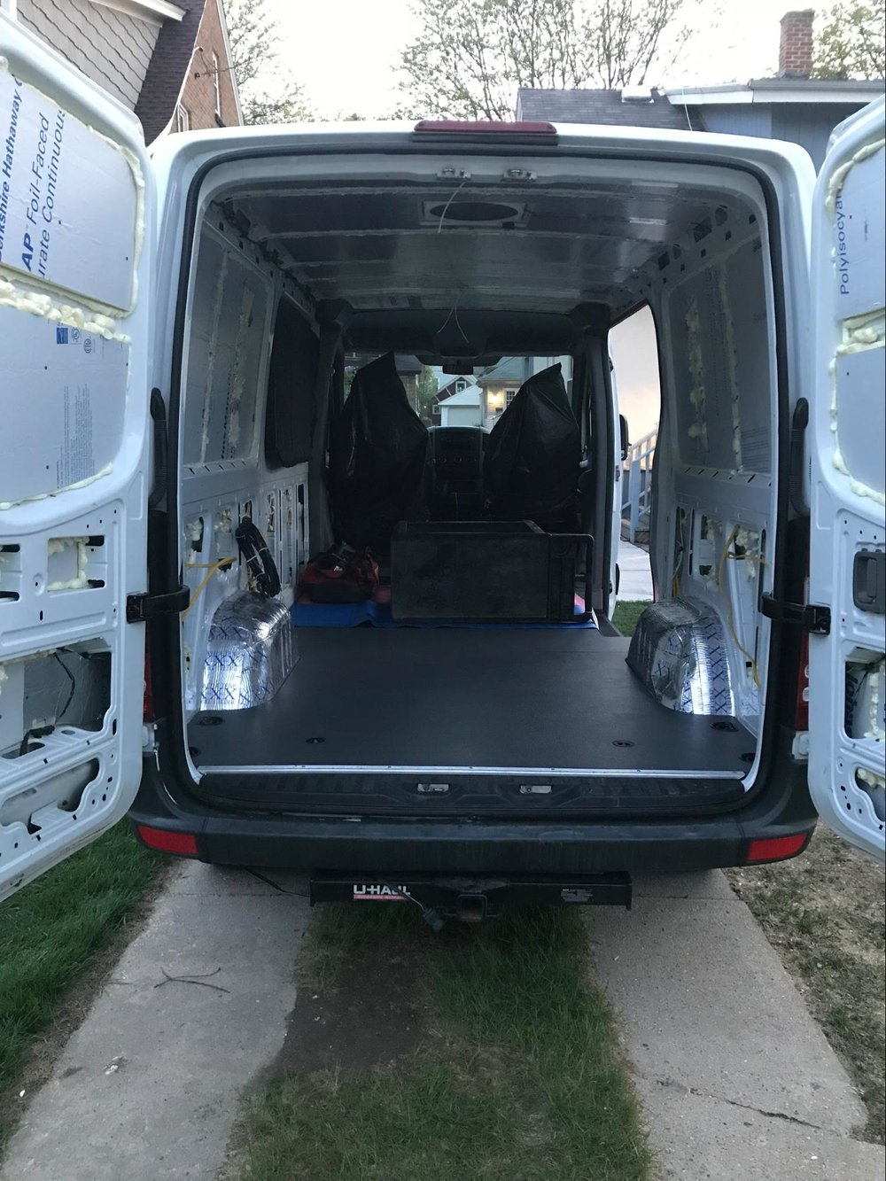 sprinter van rear with painted flooring