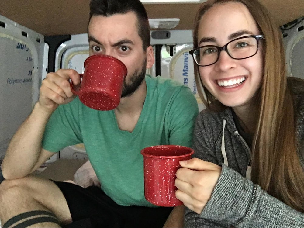 drinking coffee in van