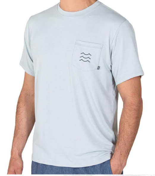 Men's bamboo pocket tee - » 4-way stretch for mobility» Long, lean athletic fit» Left chest pocket with pop stitch detail and wave woven label