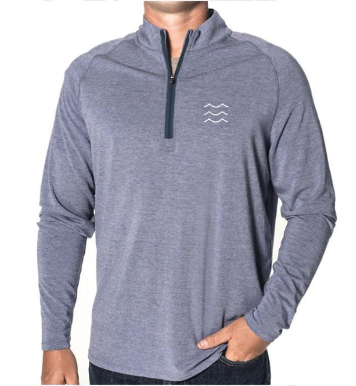 Men's bamboo 1/4 zip sweater - » Collar lined with ultra-soft lightweight bamboo» Contrast zipper and collar lining» Mobility and warmth