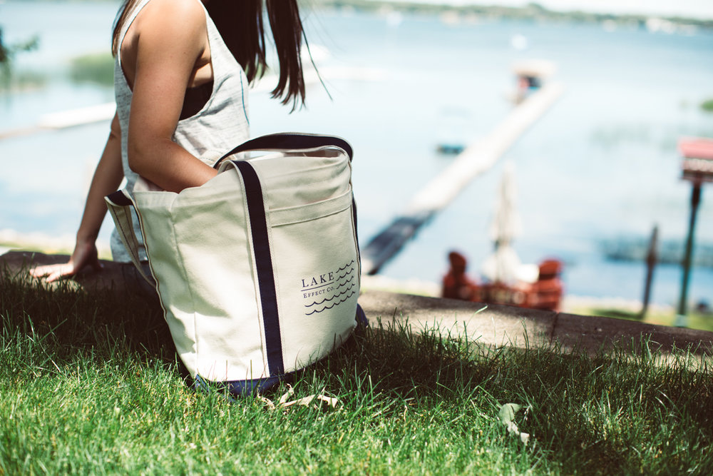 Flag boat tote - » Front pocket + zipper enclosure» Certified Organic Cotton» Made in the USA