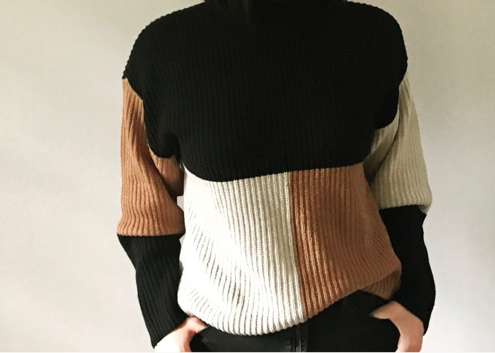 BP Mock Neck Color Block Sweater originally $49, now $31.90