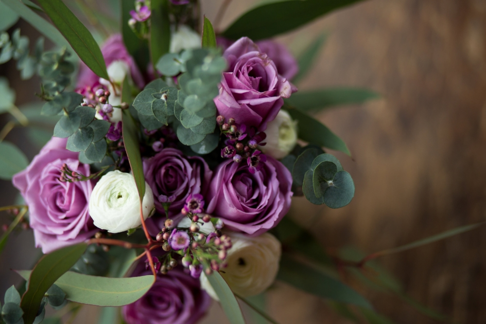 details of purple flower bouquet Colorado wedding