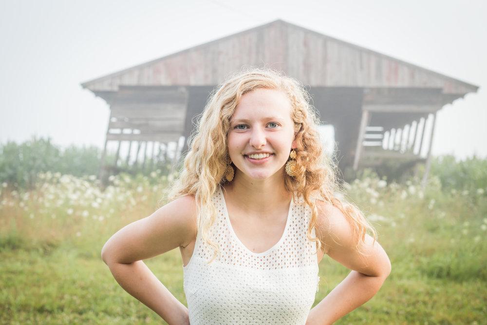Senior photo girl white dress barn in Michigan