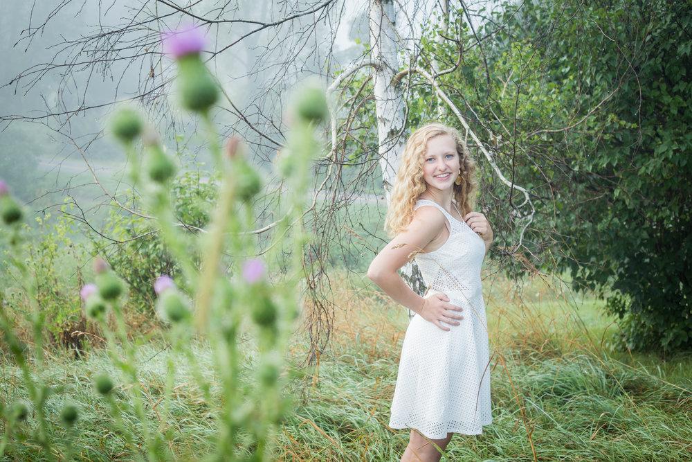 Foggy Michigan thistle birch tree white dress standing