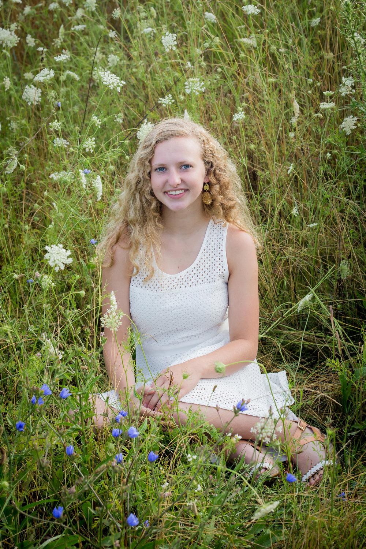 Sparta Michigan senior photos field of flowers