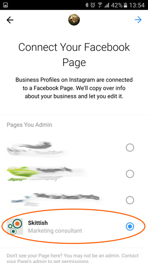 Changing instagram profile to business profile