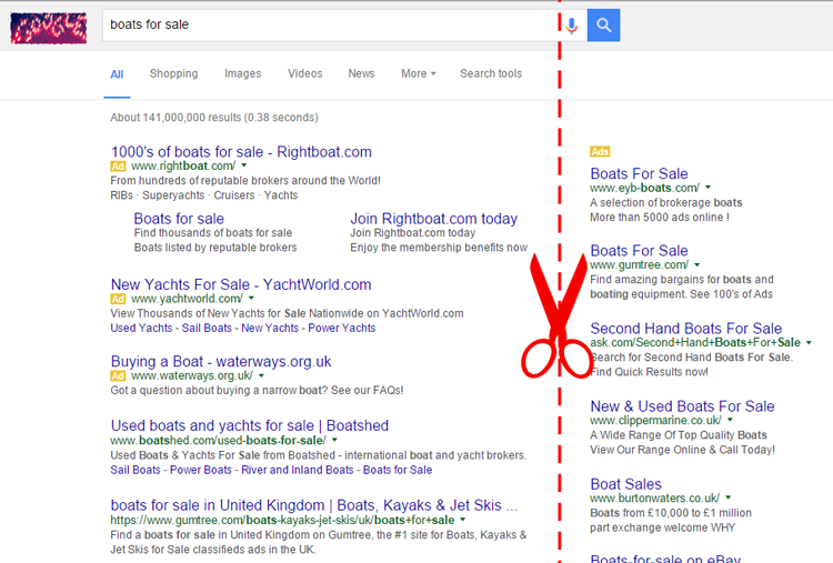 Google Removes Right Hand Ads from Search Results