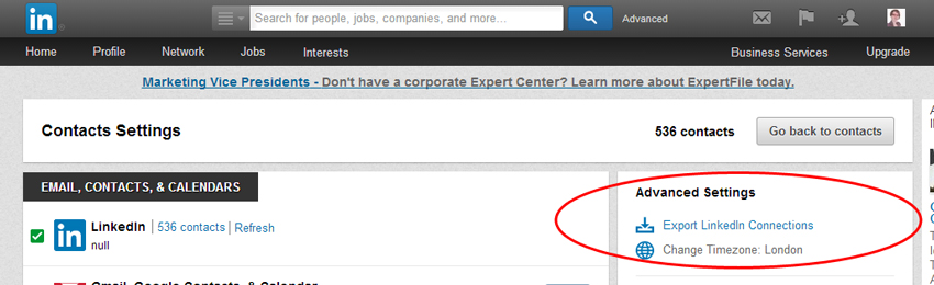 Export LinkedIn Connections Link
