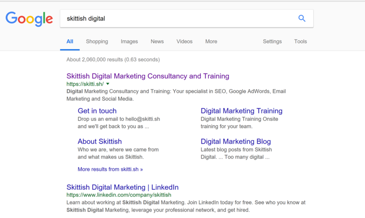 how do you get those extra links in google search results