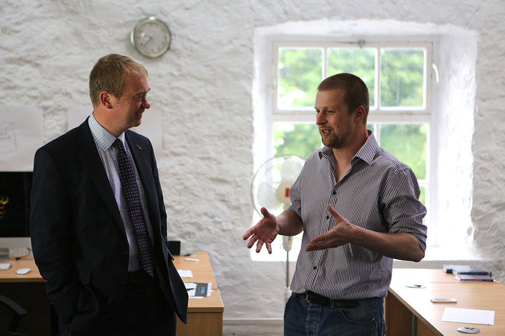 Tim Farron MP with Paul Johnson at the Kendal studio