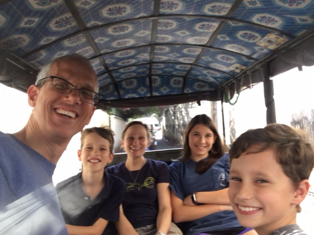 A common sight in recent weeks:  Five Kildays in a tuk tuk.