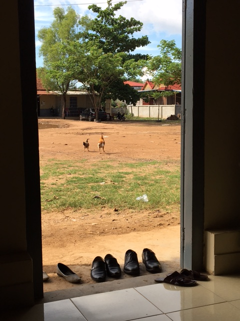 The view from inside the halls of power in rural Cambodia.  Shoes remain outside the doorway, and the chickens and roosters do as well.  No air conditioning here, so there is a strict and necessary open-door policy.