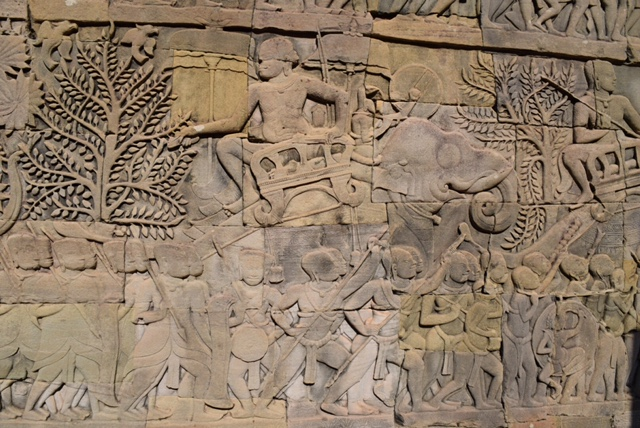 The Bayon Temple has more than 1.2 km of bas-relief carvings, depicting more than 11,000 figures and telling stories of history and everyday life in 12th-century Cambodia.