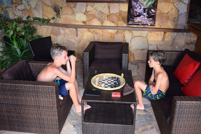 A fierce game of poolside chess.
