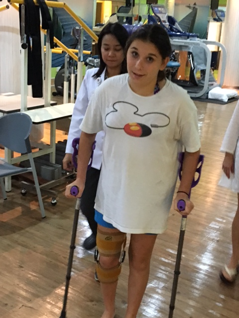 Can a super-stud athlete volleyball player quickly learn to get around on crutches and a knee brace?  Yes she can!