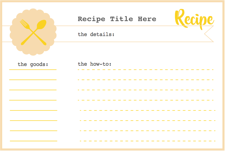Tabled Free Printable Recipe Card