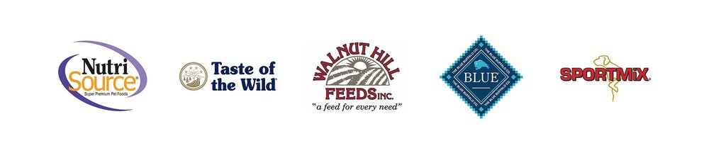 Nutri Source, Taste of the Wild, Walnut Hill Feeds, Blue Buffalo, Sportmix