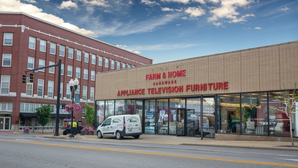 Furniture & Appliance Building at Farm & Home Hardware in Ashland, Ohio.