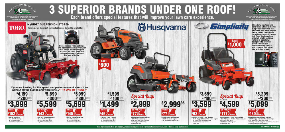 2019 Spring Service Special on push mowers, riding lawn mowers, and zero turn mowers at Farm & Home Hardware Page 2