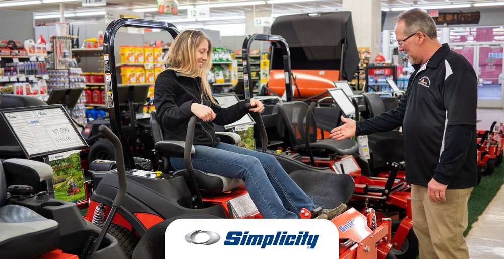 Simplicity lawn mowers for sale at Farm & Home Hardware.