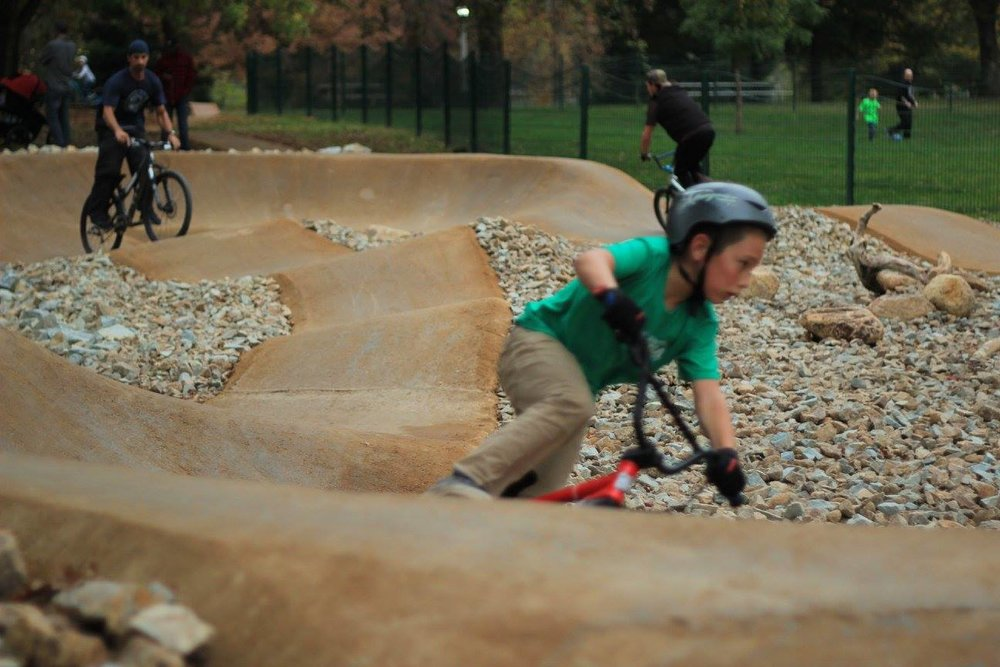 The Technisoil proved to be a great choice for paving the pump track.  It blends in with the rest of the trails, and will hold up for years to come.