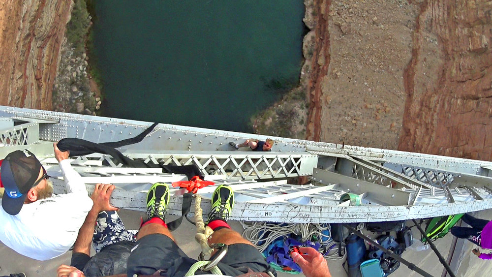 Navajo Bridge Bungee Jump - Grand Canyon - Arizona. Snapshot from my Sony Camera (POV video).