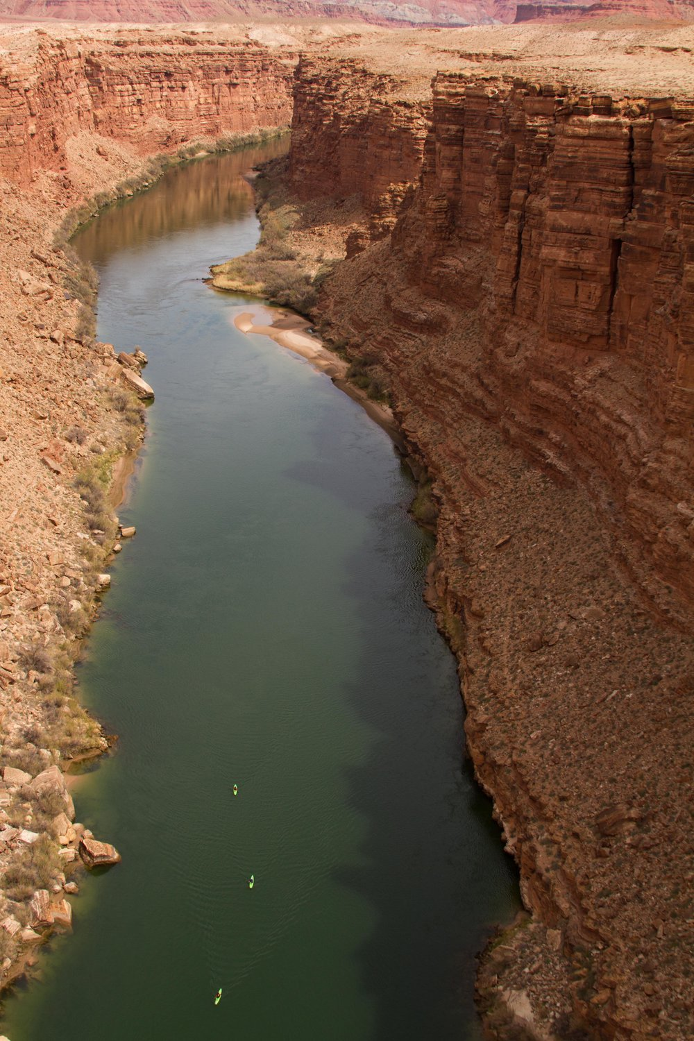 Kayakers near the start of the paddle down the Colorado River. Photo by Dave Nevins.