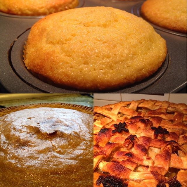 Baking Complete! Apple Pie, Pumpkin Pie & Cornbread Muffins. All #papreferred #organic #localfood
