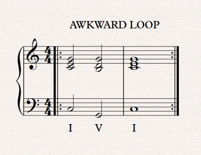 A traditional piece might function like this, but by having such a strong ending feel the loop will sound unnatural. It ends clearly on tonic and on a nice long note. Great for generating applause after a show, but severely noticeable in a game.