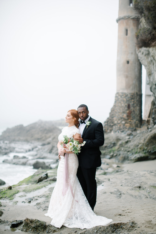 Foggy Bridal Portraits by the Sea    Laguna Beach, CA